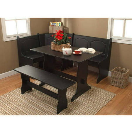 Breakfast Nook 3 Piece Corner Dining Set Black