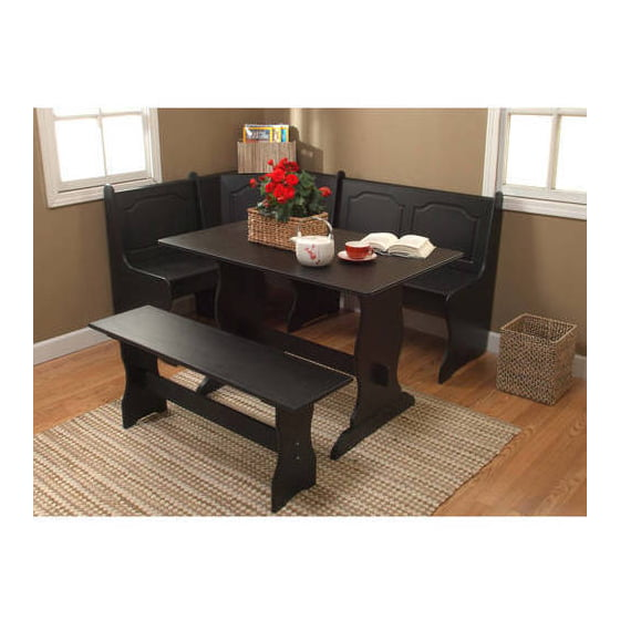 Breakfast Nook 3 Piece Corner Dining Set (Black)