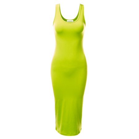 7f5459b9c553 Doublju Women's Summer Midi Dress Solid Color Sleeveless Bodycon Sexy  Evening Dresses LIME M