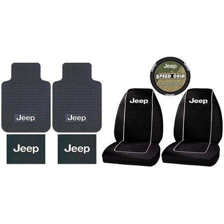 (7PC Jeep Logo Floor Mats Seat Covers Steering Wheel Cover complete combo set)