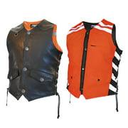 Men's G2 D.O.C. Reversible Leather Safety Vest Hi-Viz Orange - Small G2RVMO