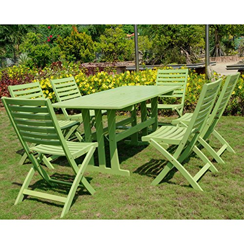 Milazzo Set of Seven Acacia Wood Dining Group-Mint Green