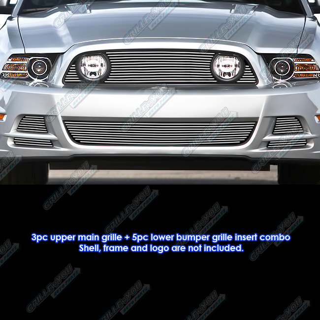 APS Fits 2013-2014 Ford Mustang GT Up & Lower & Fog Light Cover Billet Grille Combo #F61257A