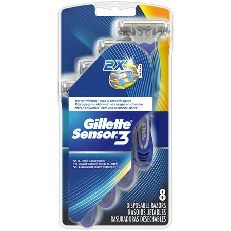 Gillette Sensor3 Disposable Razor for Men with Pivoting Head, 8 ct