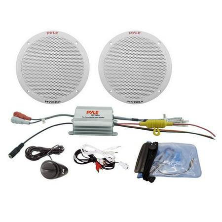 Pyle Plmrkt2a Marine 6 5  Speaker System 2Ch Amp 400W Max