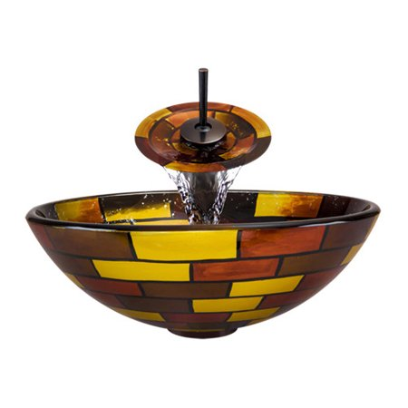A15 Glass Vessel Oil Rubbed Bronze Bathroom Ensemble with Grid Drain ()