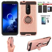 Phone Case For Tracfone Alcatel TCL A1X Prepaid Smartphone/ TCL A1X Case / Revvl-2 Case +Screen Protector with Shock Absorbing Cover Ring-Holder (Slim Ring Rose Gold +Tempered Glass)