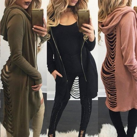New Hot Style Women Long Sleeve Open Front Long Cardigan Coat Zip Up Tops