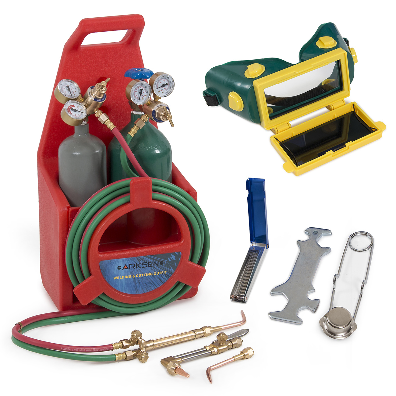 Arksen Portable Torch Kit, Oxygen & Acetylene Welding, Professional, Tote Storage, Red