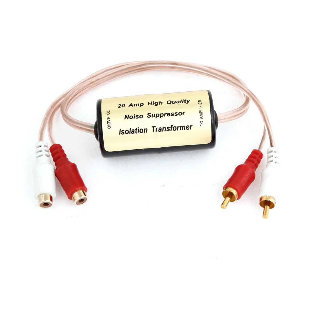 Unique Bargains Double Channel RCA Plug Audio Stereo Noise Reducer Filter 20A for Auto Car