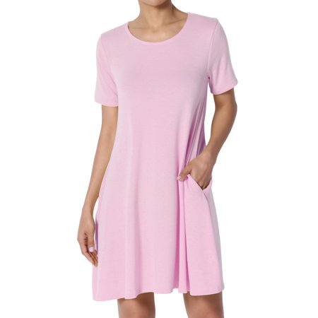 TheMogan Women's PLUS Short Sleeve Round Neck Pocket Flared A-Line Long Tunic Top One Pocket Tunic