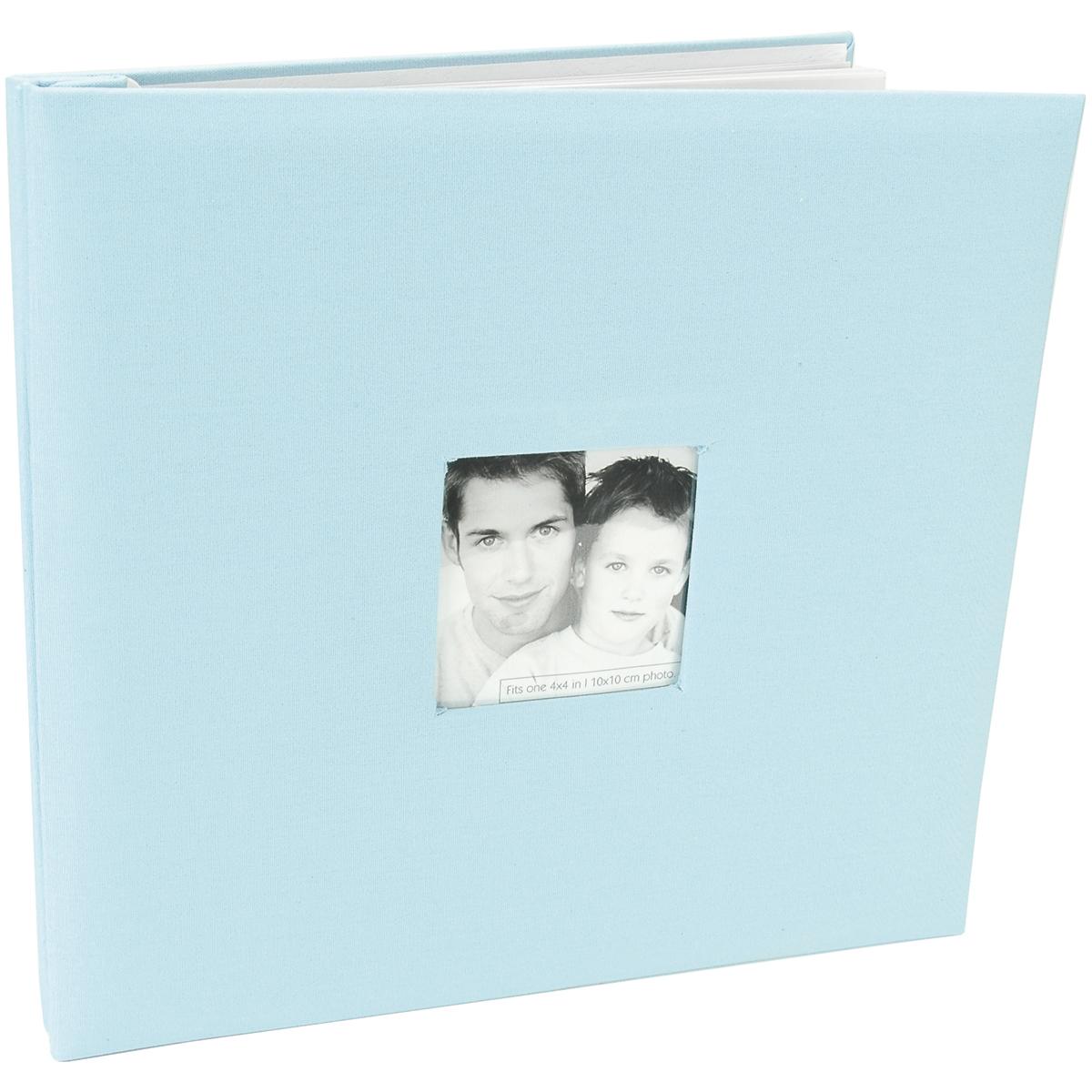 "MBI Fashion Fabric Post Bound Album W/Window 12""X12""-Sky Blue - image 1 of 1"