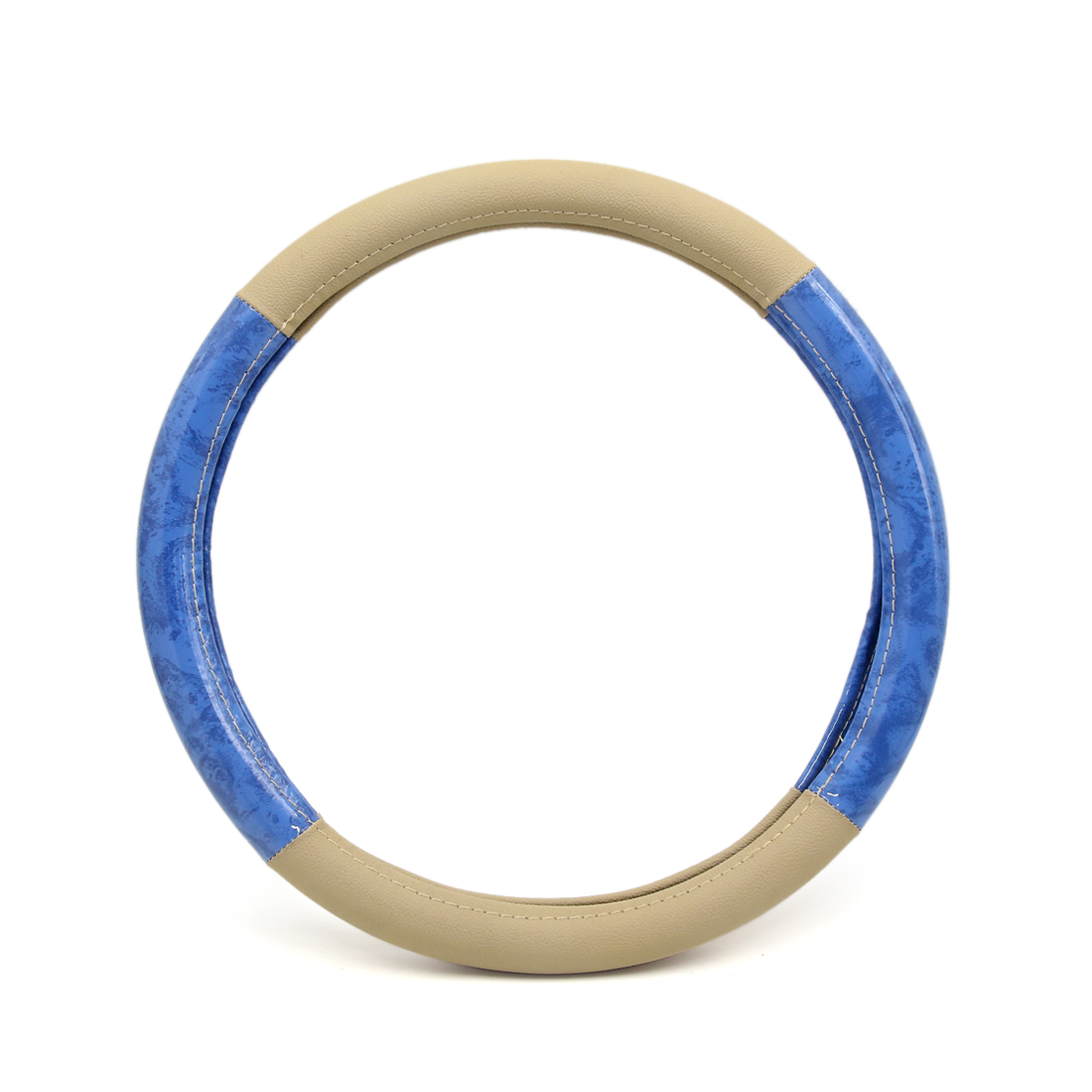 Universal Blue Beige Faux Leather 15 inch Car Truck Steering Wheel Cover - image 4 of 4