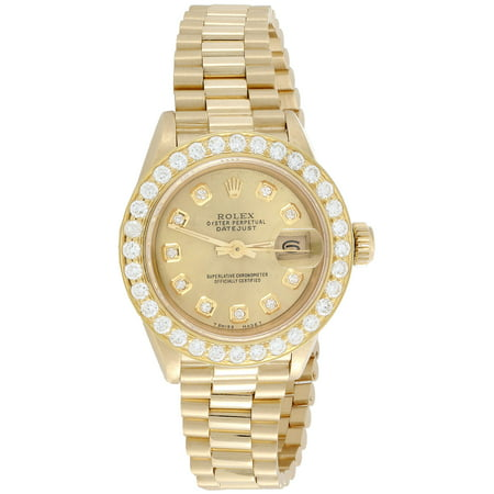 Rolex 18K Gold President 26mm DateJust 69178 VS Diamond Champagne Watch 1.38 CT.