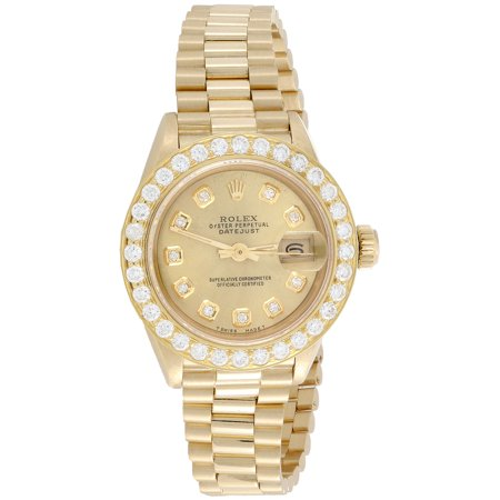 Wind Rolex Watch (Rolex 18K Gold President 26mm DateJust 69178 VS Diamond Champagne Watch 1.38)