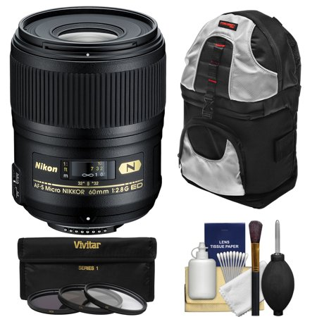 Nikon 60mm f/2.8G AF-S ED Micro-Nikkor Lens with 3 Filters + Sling Backpack + Kit for D3200, D3300, D5200, D5300, D7000, D7100, D610, D800, D810, D4s DSLR