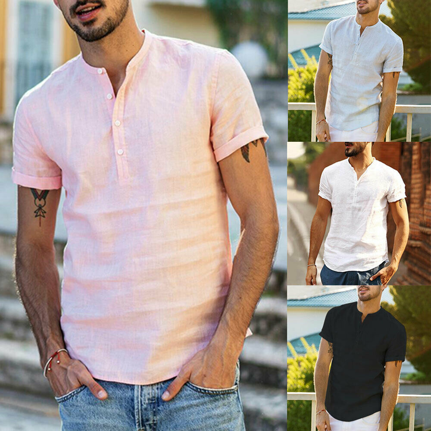 Mens Linen Short Sleeve Summer Solid Shirts Casual Loose Dress Soft Tops Tee New