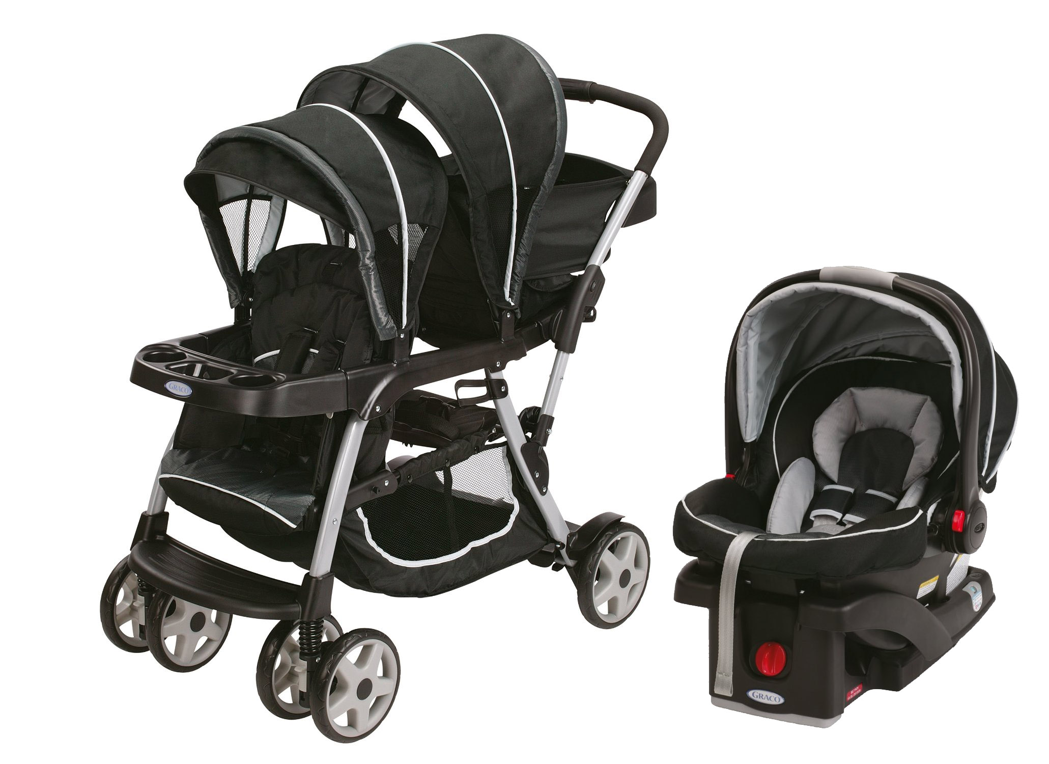 Graco Ready2Grow LX Duo Double Baby Stroller + Car Seat Travel System, Gotham by Graco