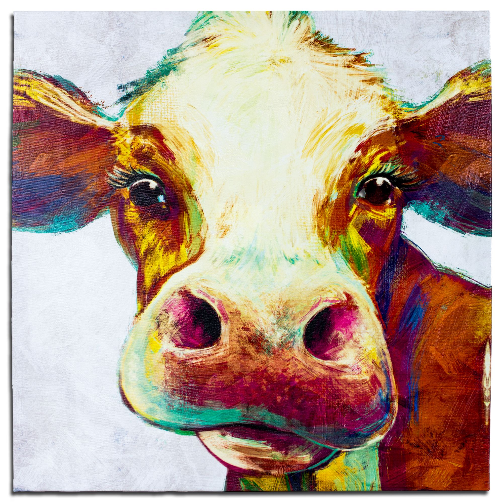 Crystal Art Cow Wred Canvas Painting