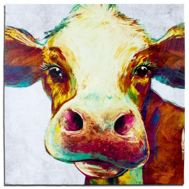 Crystal Art Cow Multicolor Animal Wrapped Canvas Painting Wall Art 20 X 20 Unframed Walmart Com Walmart Com
