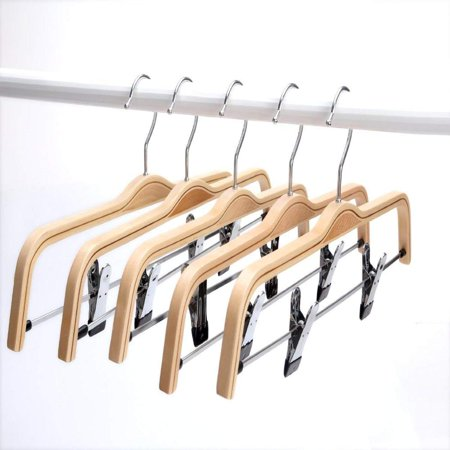 Light Bamboo Hangers, Sturdy Wood Pants Hangers, Wooden Clothes Hangers with Polished Hooks and Clips, 5-Pack By Only Garment - Bamboo Hangers