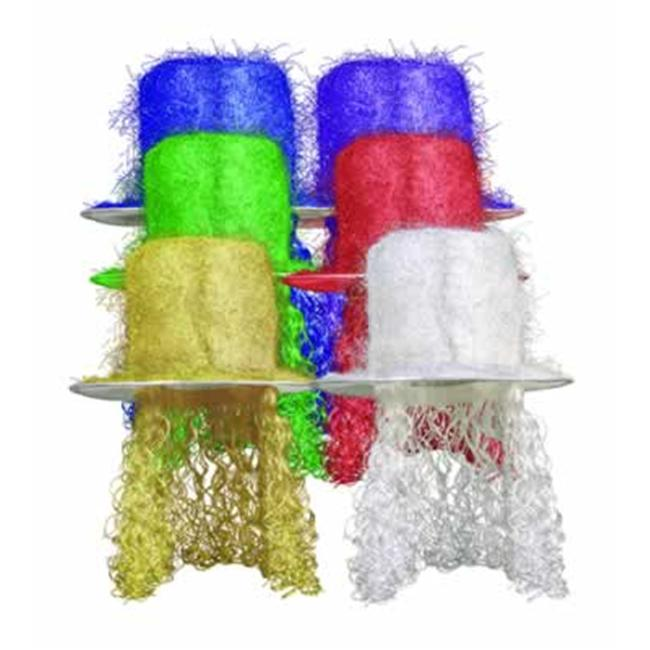 Beistle 60704-MC - Tinsel Top Hat with Curly Wig - Pack of 6