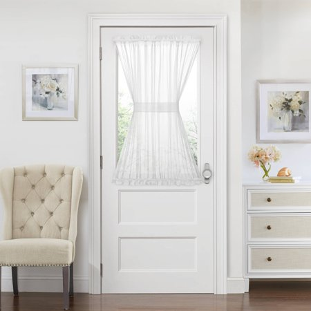 Semi Sheer French Door Curtain With Tieback (White, 45 in.)](Curtains For Door)