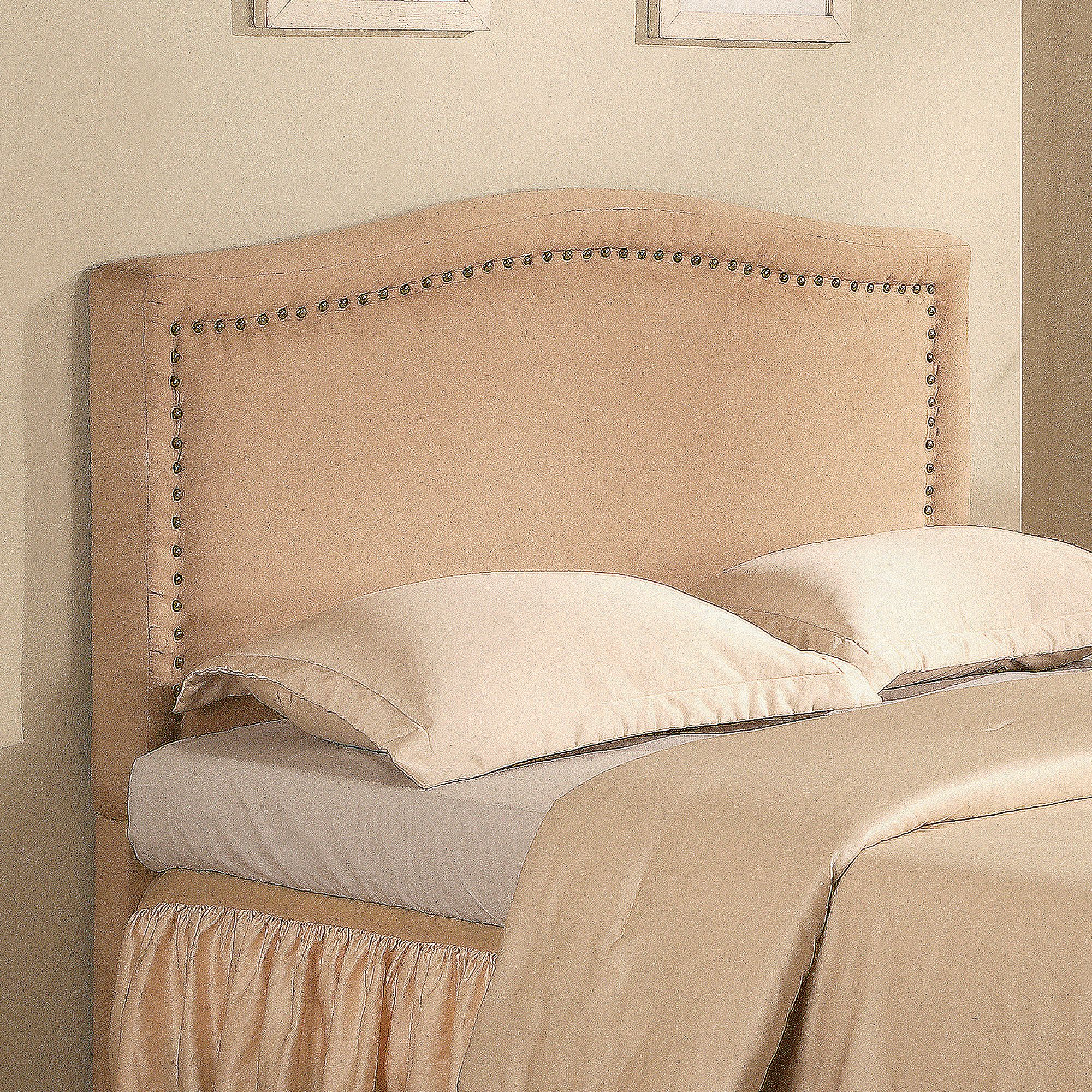 coaster queen upholstered headboard with nailhead trim, beige, Headboard designs