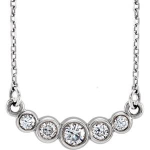 "Jewels By Lux 14k White Gold Graduated Bezel Set 1/5 CTW Diamond 16-18"" Necklace"