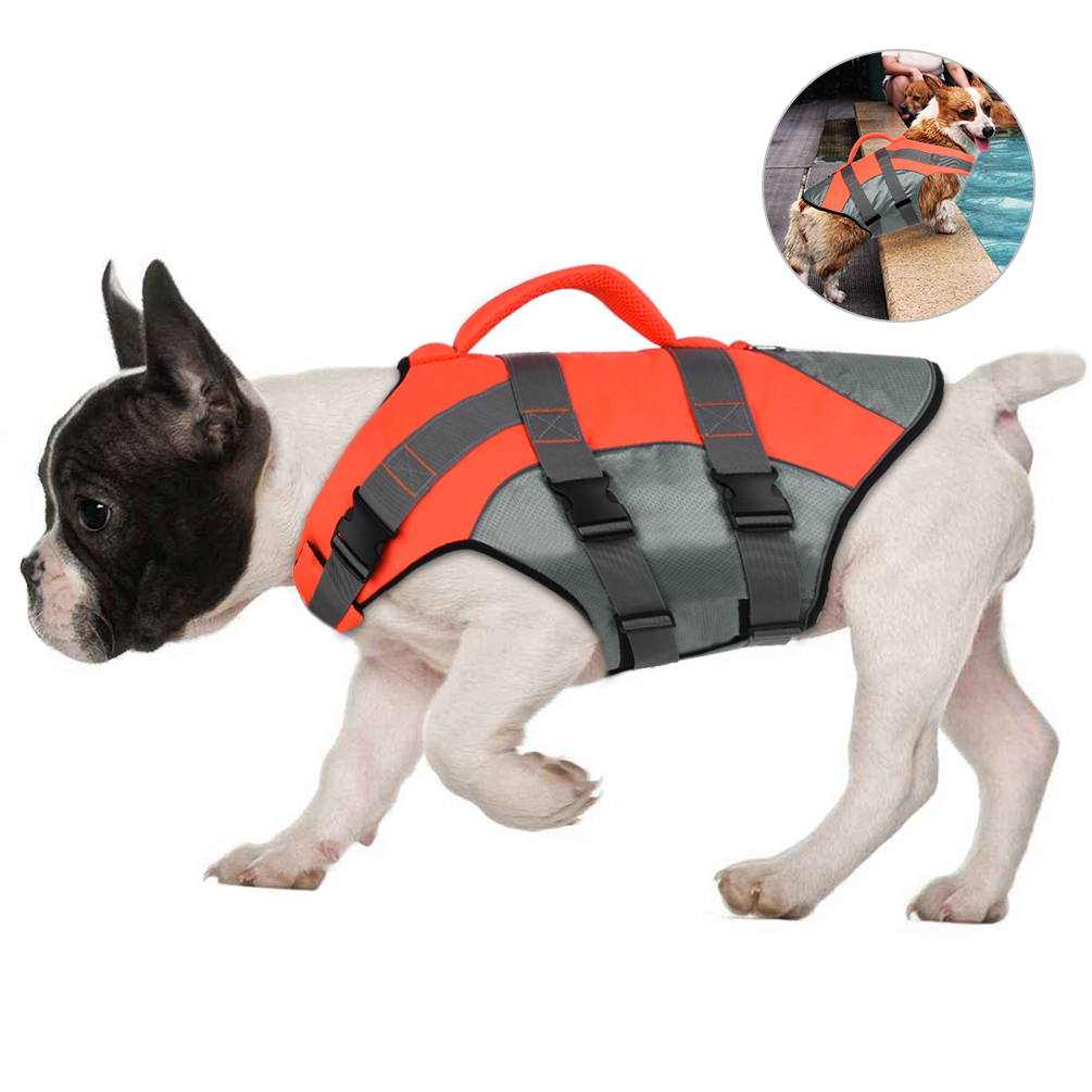 Petacc New Pet Dog Life Jacket Summer Waterproof Pet Swimming Floatation Vest Dog Swimming Vest Adjustable Pet Safety Vest Breathable with Reflective Stripe for Small and Medium-sized Dogs, Orange, L
