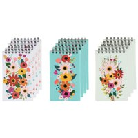 12-Pack Top Spiral Notepad, Small Notepads, Bulk Mini Memo Note Pads for To-do Lists, Party Favors, Shower Gifts, Lined Paper, 3 Floral Designs, 3 x 5 inches
