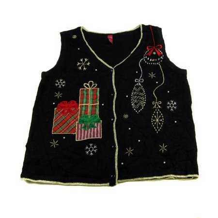Ugly Sweater Vest (XVEST-2614 - Black - Ugly Christmas Sweater Vest - Ladies -)