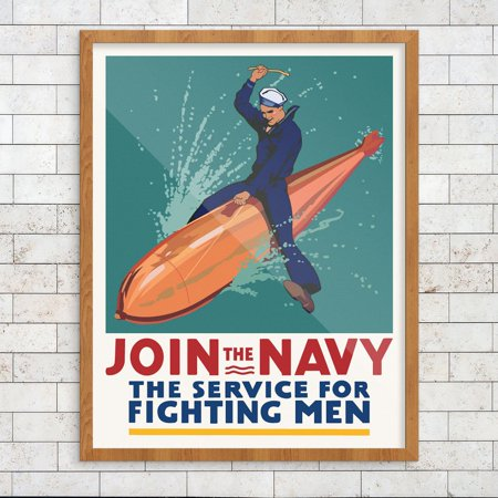 - Join The Navy The Service for Fighting Men WWII Military Recruitment Poster 11 x 14 Print
