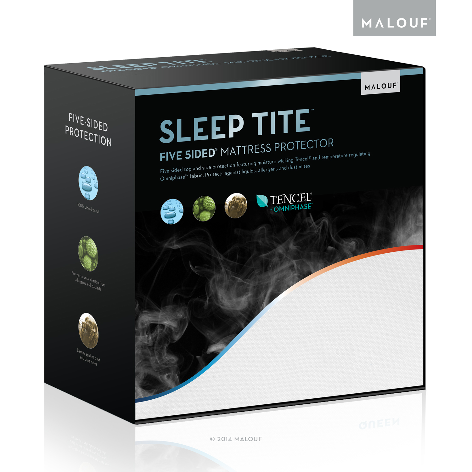 SLEEP TITE by Malouf FIVE-5IDED Mattress Protector With Omniphase and Tencel - 100% Waterproof - Regulates Temperature - 15-Year - Full XL