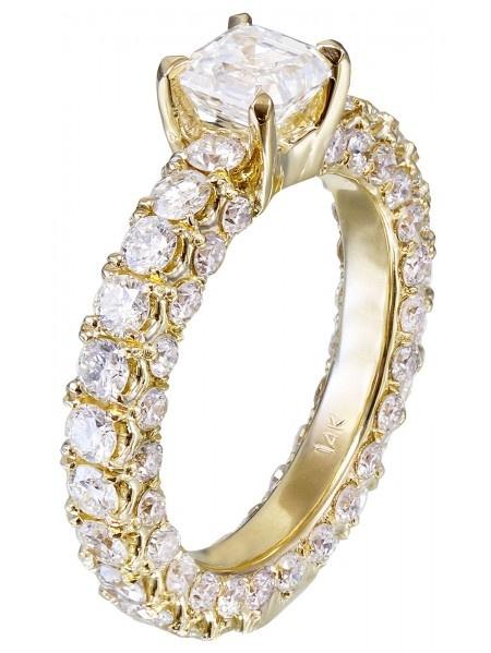 GIA H-VS2 14K Yellow Gold Asscher Cut Diamond Engagement Ring Prong Set 2.90ctw by KNR INC