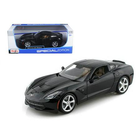 - 2014 Chevrolet Corvette C7 Stingray Black 1/18 Diecast Model Car by Maisto