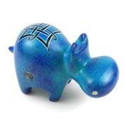 Global Crafts Handmade Blue Soapstone Hippo (Kenya)