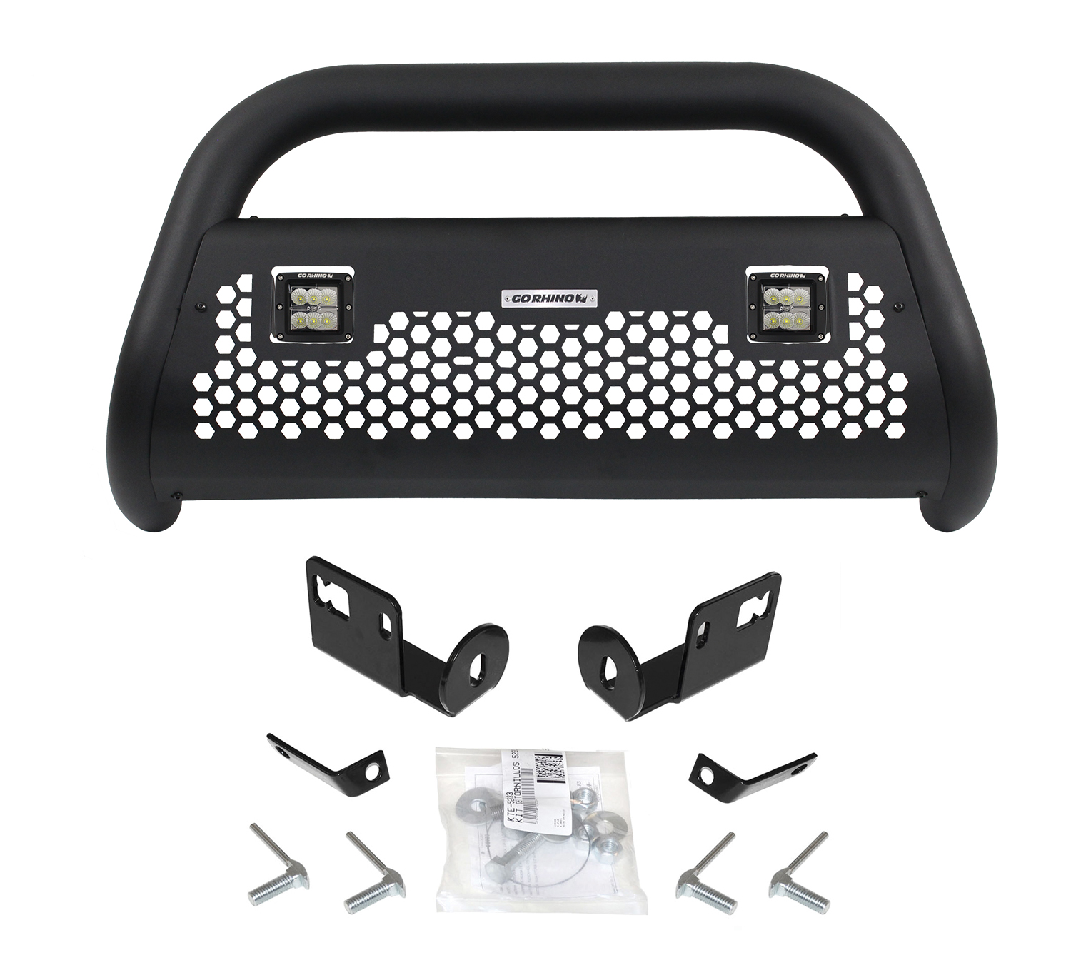 Go Rhino 55282LT Bull Bar Rhino! Charger- RC2 Light Ready Black Textured Powder Coated Steel; 3 Inch Diameter; With 2 Central 3 Inch Square Lights; With Hexagonal Mesh Skid Plate - image 1 de 1