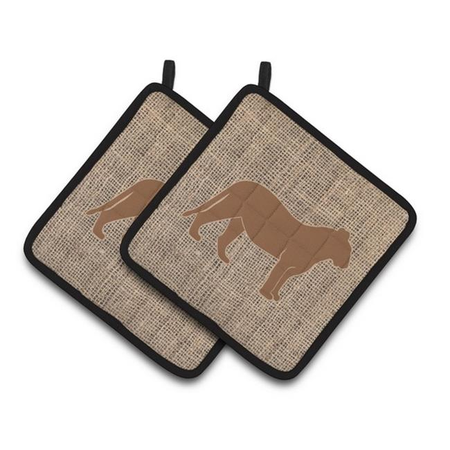Carolines Treasures BB1010-BL-BN-PTHD Tiger Faux Burlap & Brown Pair of Pot Holders, 7.5 x 3 x 7.5 in. - image 1 de 1
