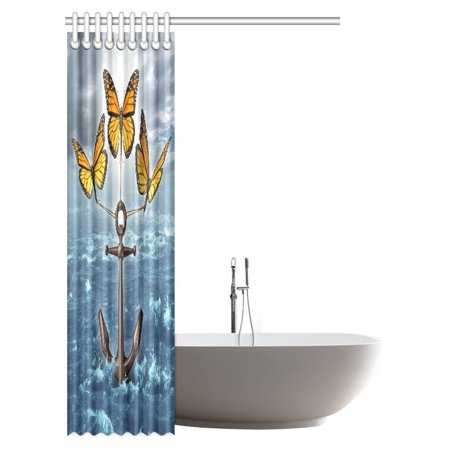 POP Anchor Decor Collection, Three Monarch Butterflies Raising a Heavy Anchor From a Stormy Ocean Bathroom Shower Curtain 48x72 inch - image 1 of 2
