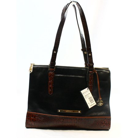 Brahmin New Black Tri Textured Leather Anywhere Handbag Tote Purse 285