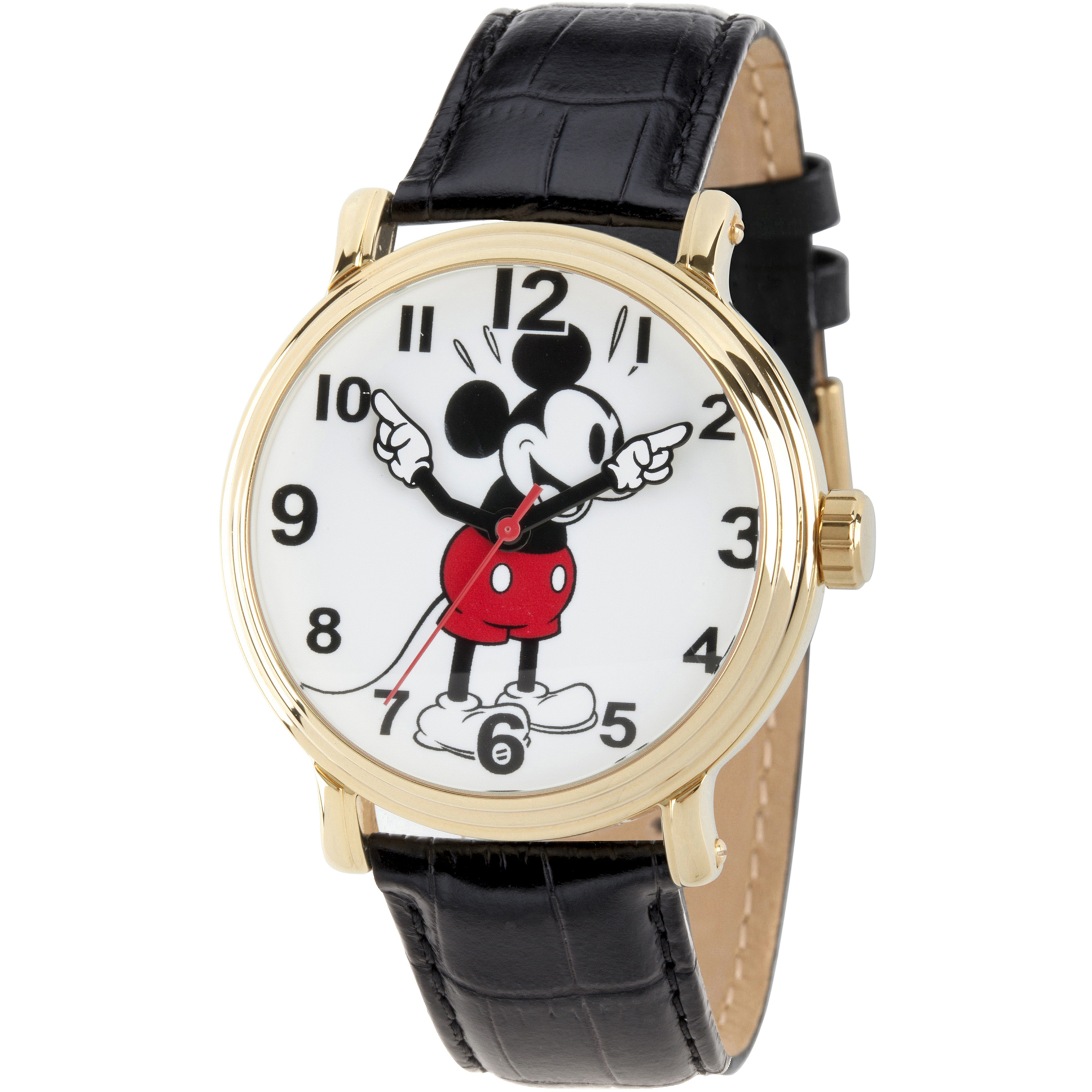 Mickey Mouse Men's Gold Vintage Alloy Watch, Black Leather Strap
