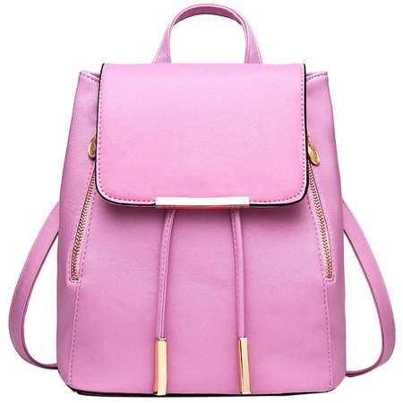Women Girl Backpack, Coofit Vintage Drawstring Faux Leather Business College Student Backpack Travel Bag Purses (Pink) (Piel Leather Drawstring Backpack)