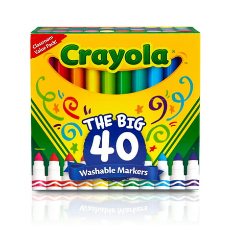 Crayola Classic Broad Line Washable Markers, 40 Colors