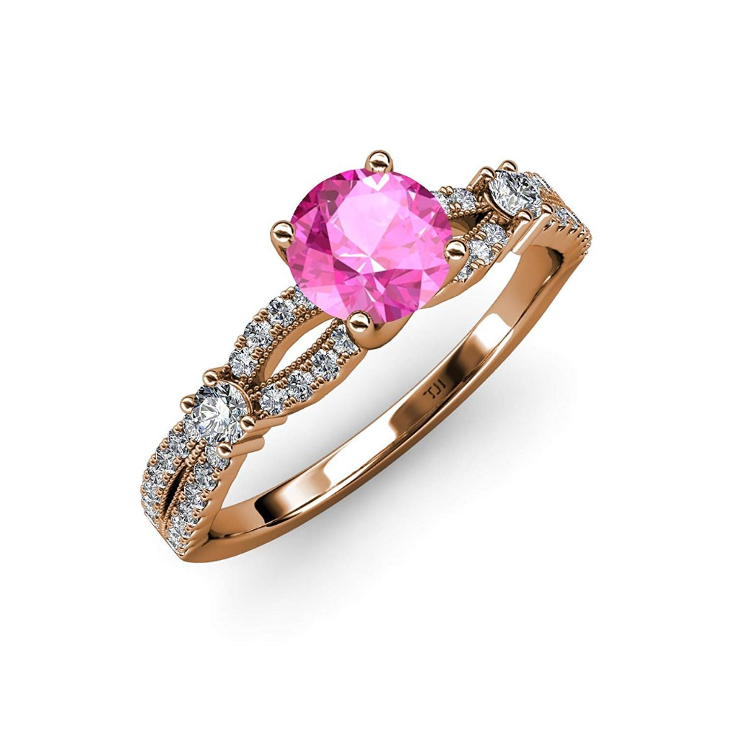 Pink Sapphire and Diamond Split Shank Engagement Ring 1.40 ct tw in 14K Rose Gold.size 6.5 by TriJewels