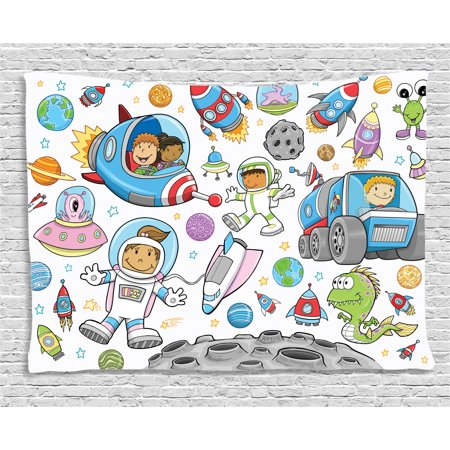 Outer Space Decor Tapestry, Cute Deep Space Astronaut Girl Boy Aliens Rockets on Moon Kids Nursery Theme, Wall Hanging for Bedroom Living Room Dorm Decor, 80W X 60L Inches, Multi, by Ambesonne - Outer Space Decor