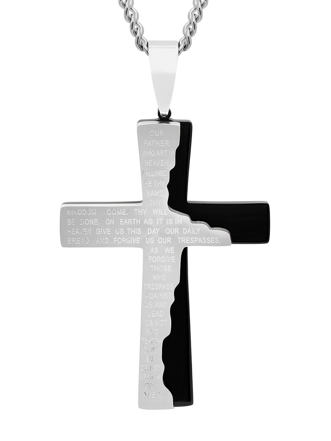 """Men's Black and White Stainless Steel Tablet Prayer Cross Pendant with 24"""" Curb Chain Mens Pendant by C & C Jewelry Mfg."""