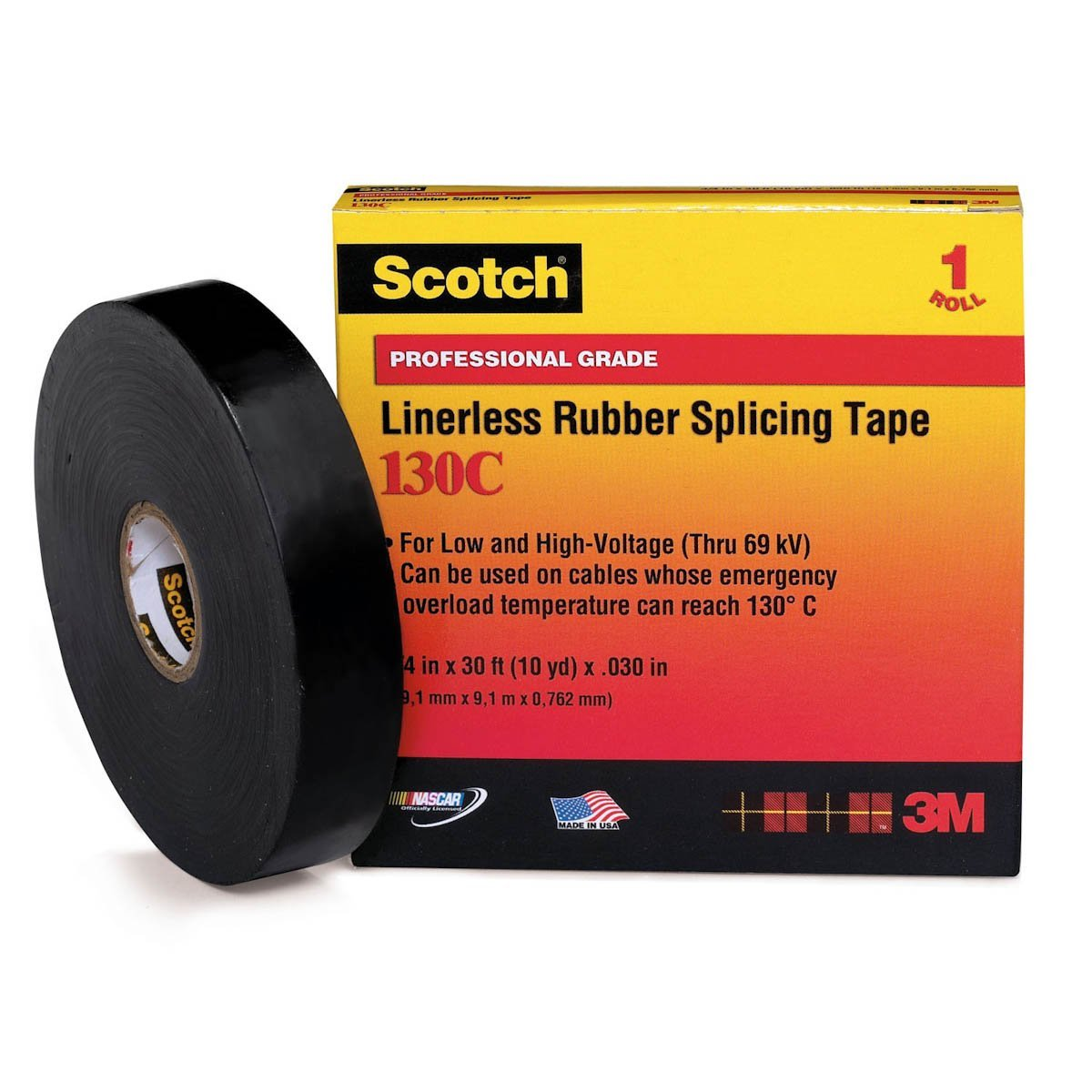 "3M 130C High-Voltage Rubber Splicing Electrical Tape, 3/4"" X 30' (1 per pack)"