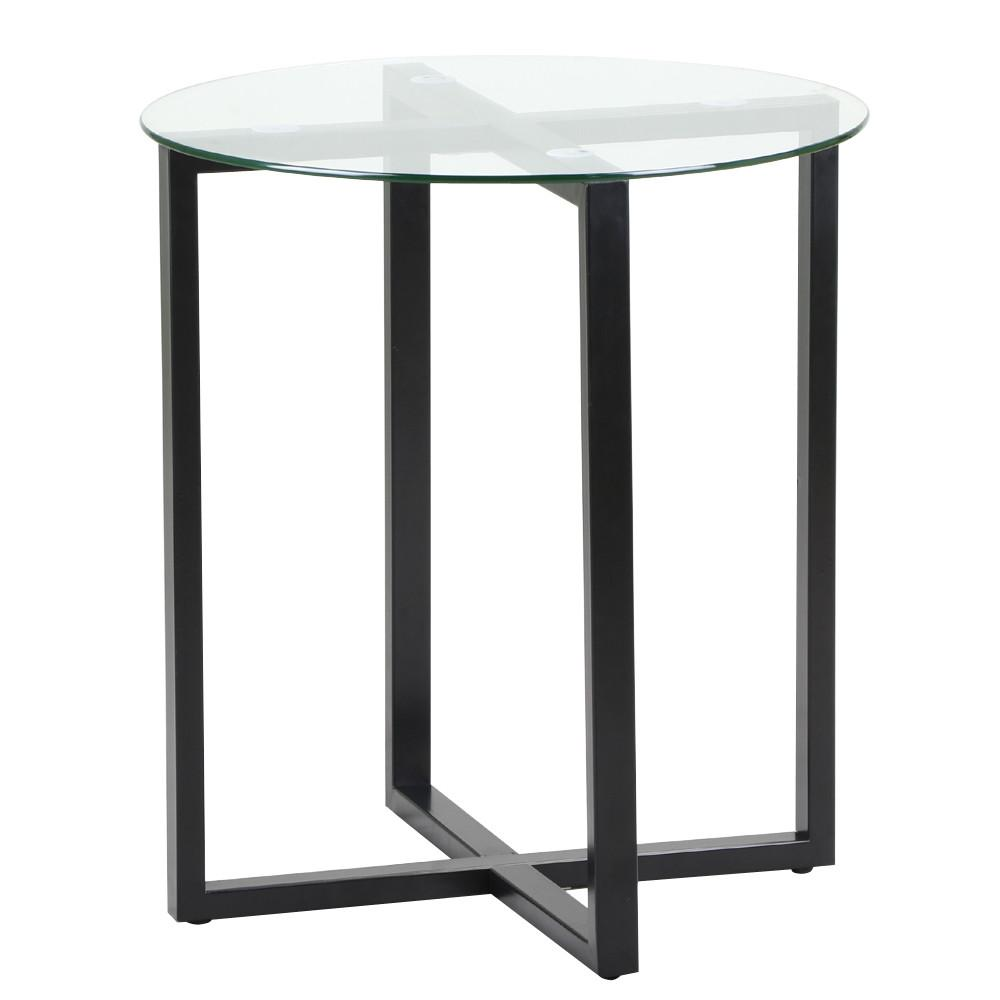 Yaheetech Small Round Glass Coffee End Table Metal Legs Sofa Side Table For  Home Office Studio