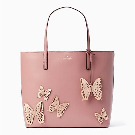 - Kate Spade New York All The Buzz Butterfly Little Len Tote in Dusty Peony